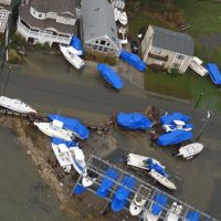 Boats were displaced and houses flooded in Brigantine, N.J., after Sandy in 2012