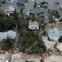 Flooded houses along mid-atlantic coast after Hurricane Sandy.