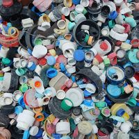 Plastic bottle caps collected from Midway Atoll.