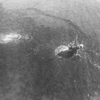 Oil rising to the ocean surface near drilling rig in Santa Barbara oil spill.