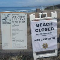 A beach closed sign on a fence in front of an ocean beach at Coal Point.