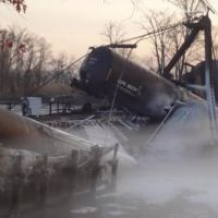 Seven train cars derailed when the bridge over the Mantua Creek.