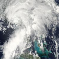 Satellite view of Tropical Storm Andrea on June 8, 2013 crossing over Florida.