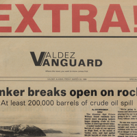 Front page of Valdez newspaper's first reports on the Exxon Valdez oil spill.