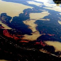 Oil on the Mississippi River after spill.