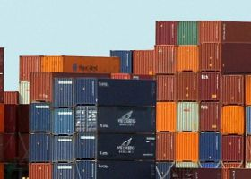 Stack of containers on a cargo ship.