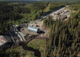 An aerial view of a culvert replacement being installed.