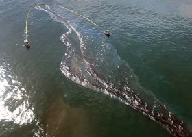 An aerial image of oil in water.