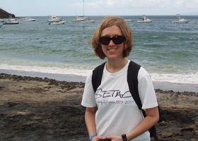 A girl on a beach.