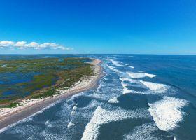 Aerial view of an ocean beach.