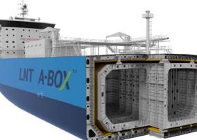 Cut-away illustration of an LNG tanker.