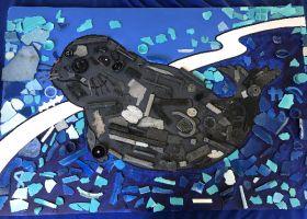 Mosaic of a baby seal.