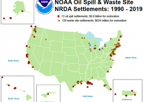 """A map of the U.S. showing """"NOAA Oil Spill & Waste Site NRDA Settlements 1990-2019."""""""