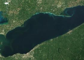 Satellite view of Lake Erie.