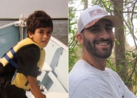 Two photos side by side: (left) a little boy in a life jacket on a boat, (right) a photo of a man with trees behind him.