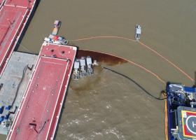 An aerial view of an oil spill.