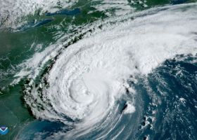 An satellite image of a hurricane.