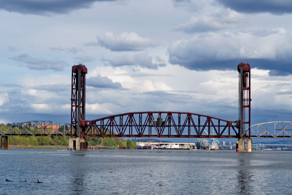 A view of a bridge over water.