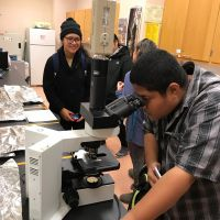 Student looking into a microscope.