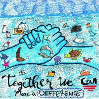 """Two hands decorated with healthy sea creatures amid a sea filled with debris, over the text """"Together we can make a difference."""""""