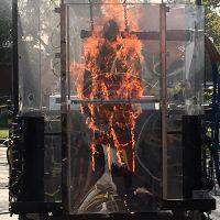 Flames inside a box.