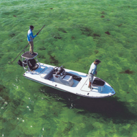 Overhead view of two people on a boat on the water.