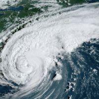 Satellite image of a hurricane.