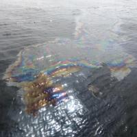 Oil slick on water.