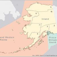 Map of Alaska and surrounding area.