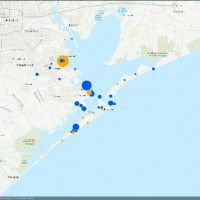 Map depicting monofilament bin locations with dots.
