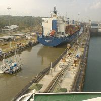 Large ship in a canal.