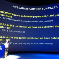 "Text projected on a screen, ""NOAA is the institution we have co-published the most papers with — 69."