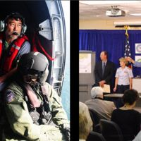 Picture of a man in a helocopter next to picture of a panel of three people.