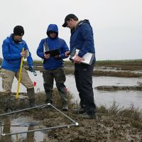 Three people doing sampling in a sandy area.