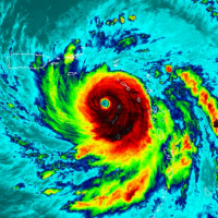 An infrared satellite image of a hurricane.