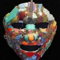 Multi-colored mask of face.