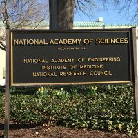 National Academy of Science signage in front of headquarters.