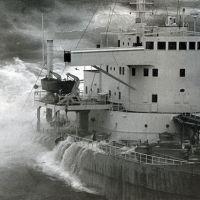 Big ship in rough seas.