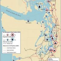 Map of Puget Sound marking potentially affected facilities.