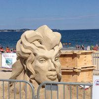 Sand sculpture of a head on the beach.
