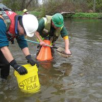 Men sampling in a river with buckets.
