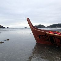 Canoe on a beach.