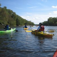 Kayaks on a river.