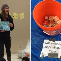 Two photos - woman standing and photo of bucket of contaminated items.