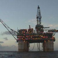Oil platform at sea.