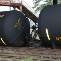 Derailed train.