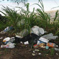 Trash, including plastics laying on a beach.