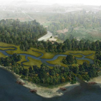 Artist's rendering of restored river and wetlands.