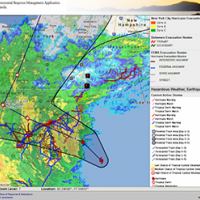 Screen shot of Atlantic ERMA environmental mapping tool with Hurricane Sandy.