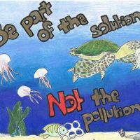 Drawing of marine life and text 'Be part of the solution, not the pollution.'
